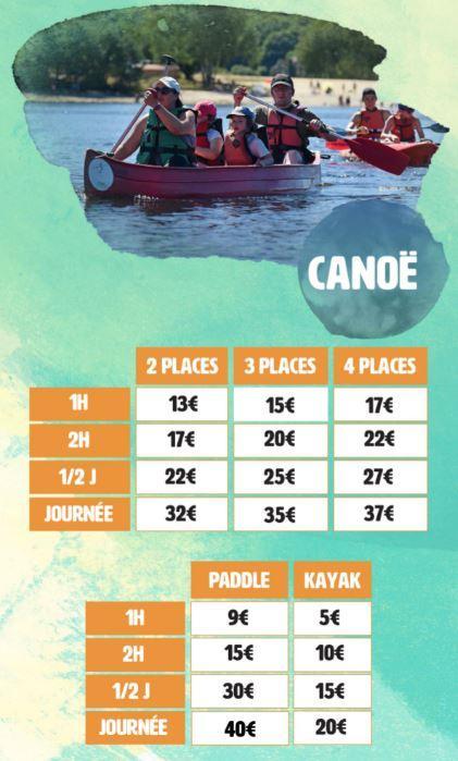 Tarif canoe