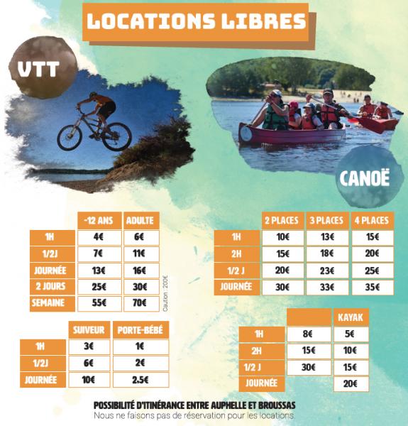 Tarifs locations
